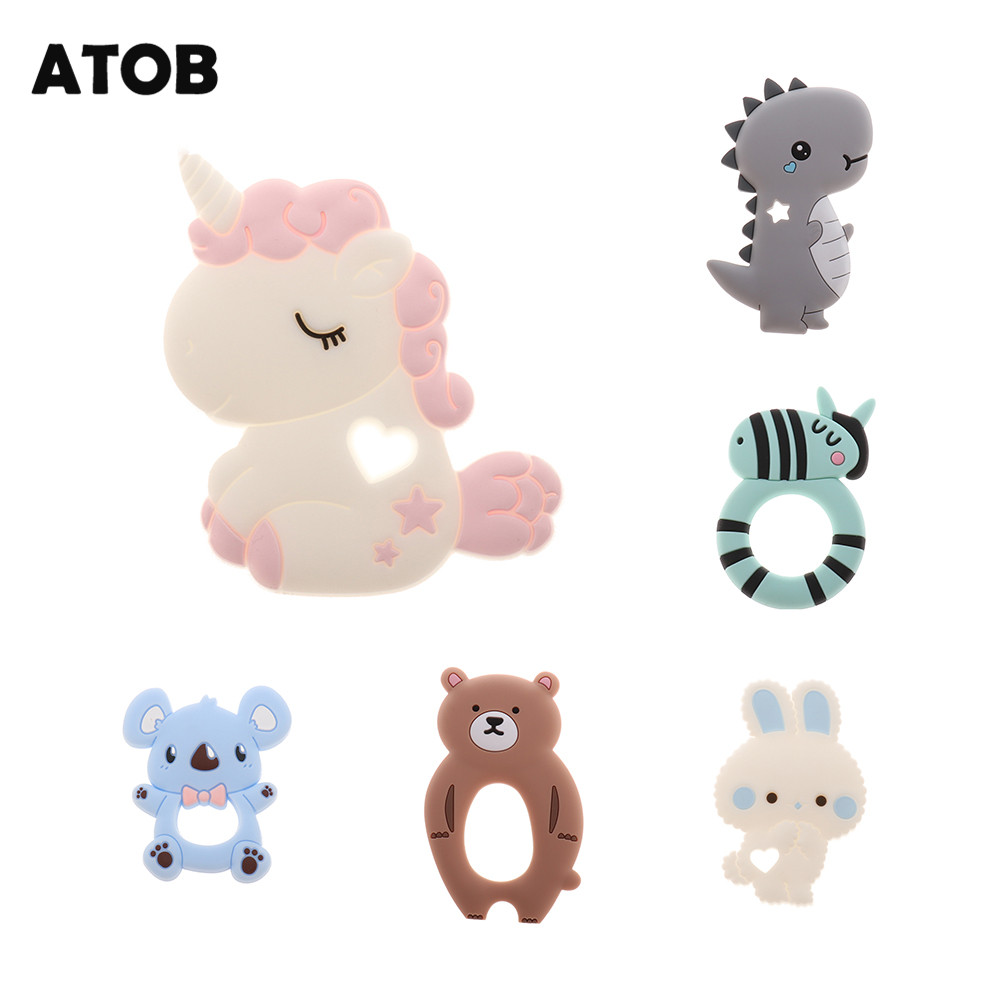 ATOB 1Pc Silicone Teether Unicorn Silicon Food Grade Baby Teething Toys  Bpa Free Bear Safe Baby Teether  DIY Necklace Pendant