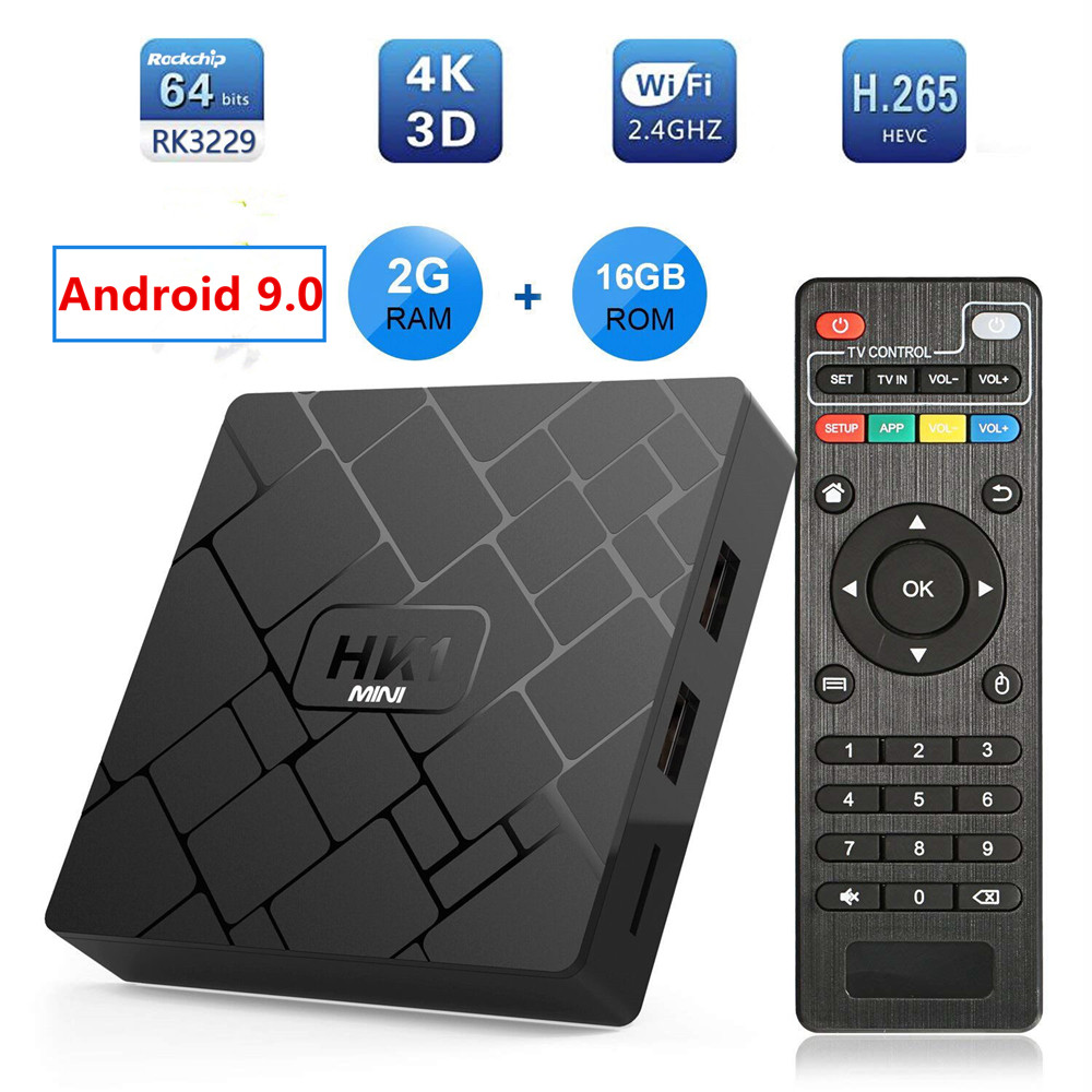 Transpeed Android 9.0 Smart TV BOX RK3229 2G DDR3 16G EMMC ROM Set Top Box 4K 3D H.265 Wifi Media Player TV Receiver Play Store