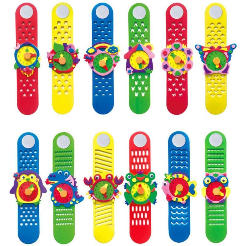 DIY Handmade Watch In Kindergarten Child Kids EVA Watch  Fancy Paste Toy Cartoon Clock Puzzle Toy Intelligence Training Toys
