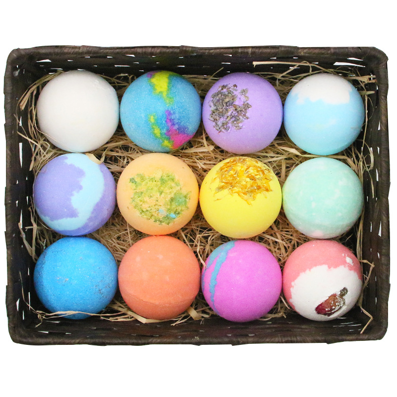 12pcs Bath Salt Ball Handmade Soap Natural Organic Bubbles Bombs Salt Ball Moisturizing Essential Oil Bubble Bath