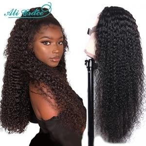 Волосы Ali Grace 4x4, Кудрявые Парики на шнурках, предварительно выщипанные кудрявые человеческие волосы, парики 26 дюймов, бразильские парики на ...