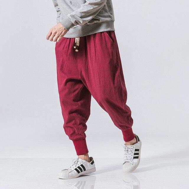 Cotton Harem Pants Men Solid Elastic Waist Streetwear Joggers 2020 New Baggy Drop-crotch Pants Casual Trousers Men Dropshipping 2