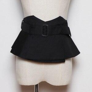 Женский широкий пояс из черной ткани, пояс-корсет с оборками и баской, пояс для платья