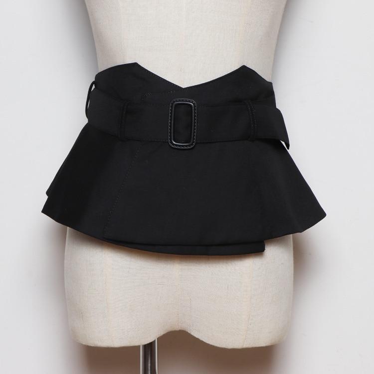 New Women Black Cloth Wide Belt Corset Belt Ladies Fashion Ruffle Skirt Peplum Waist Belts Cummerbunds For Women Dress