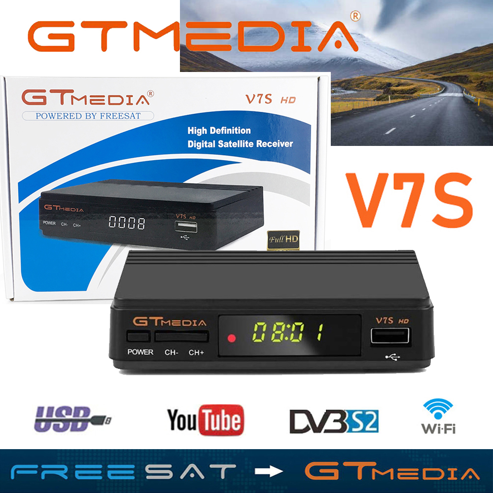 Hot Sale DVB S2 Gtmedia V7S HD Receptor Support 3 Years Europe Cline For Spain FTA Satellite TV Receiver Freesat V7 HD Decoder