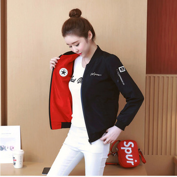 Spring Autumn womens jacket baseball uniform coats Korean version of the double-sided wearable YQ059