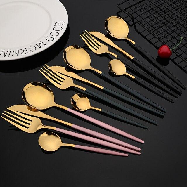 Ensemble de couverts en acier inoxydable, 24 pièces, vert et or, vaisselle miroir, couteau, fourchette, cuillère à café pour la maison 2