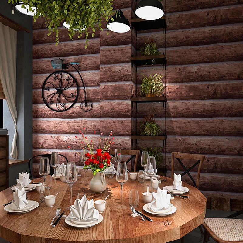 빈티지 모조 나무 질감 벽 종이 3d 스테레오 효과 우드 그레인 베이지 그레이 브라운 벽지 벽 방수 장식