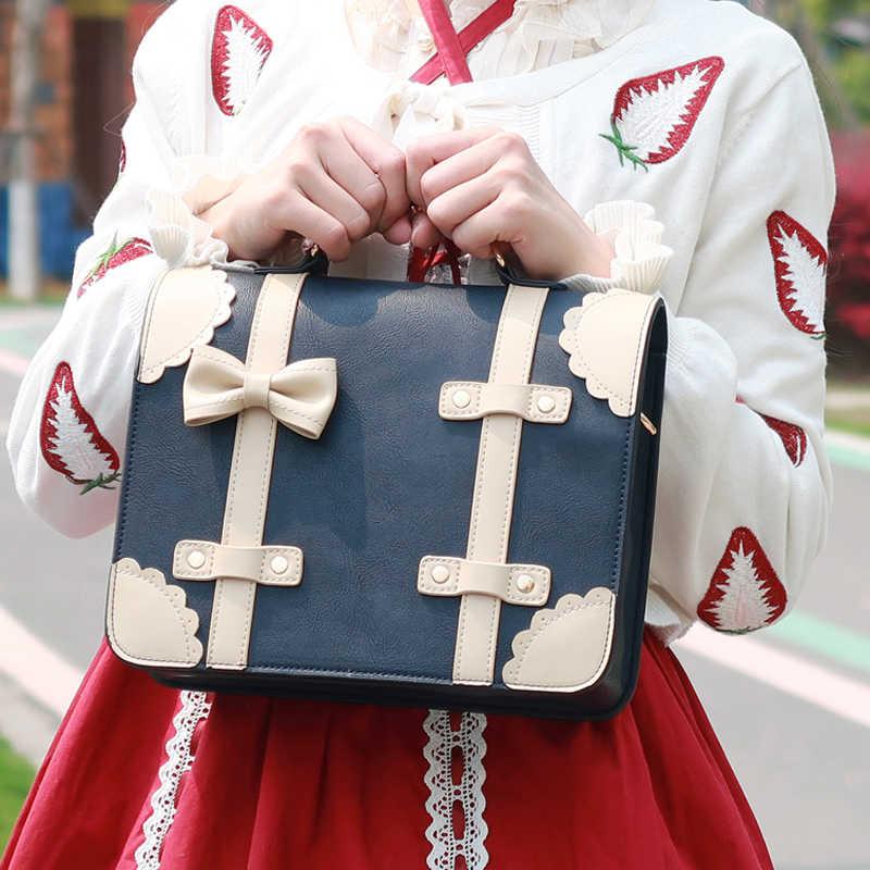 Japonais Styles Sakura Broderie Sac a bandouliere JK uniforme sac à main 3 couleurs
