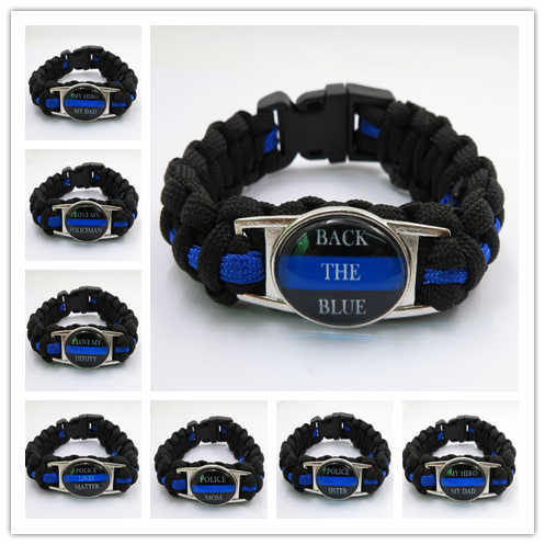 Thin Blue Line Silicone Wrist Band Bracelet Wristband Support Police and Law Enforcement Mother Mom