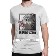 Inosuke Sama koszulka męska Demon Slayer Anime Demon Blade nowość koszulki wycięcie pod szyją koszulki ubrania dla dorosłych