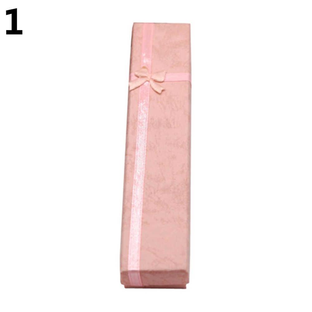 1 unidad elegante Bowknot collar largo pulsera pantalla almacenamiento caja joyería caja de regalo nueva caja de joyería organizador caja de regalo embalaje