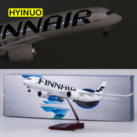 47CM 1/142 Scale Airline Airbus A350 Finland FINNAIR Airplane Model W Light and Wheel Diecast Plastic Resin Plane For Collection