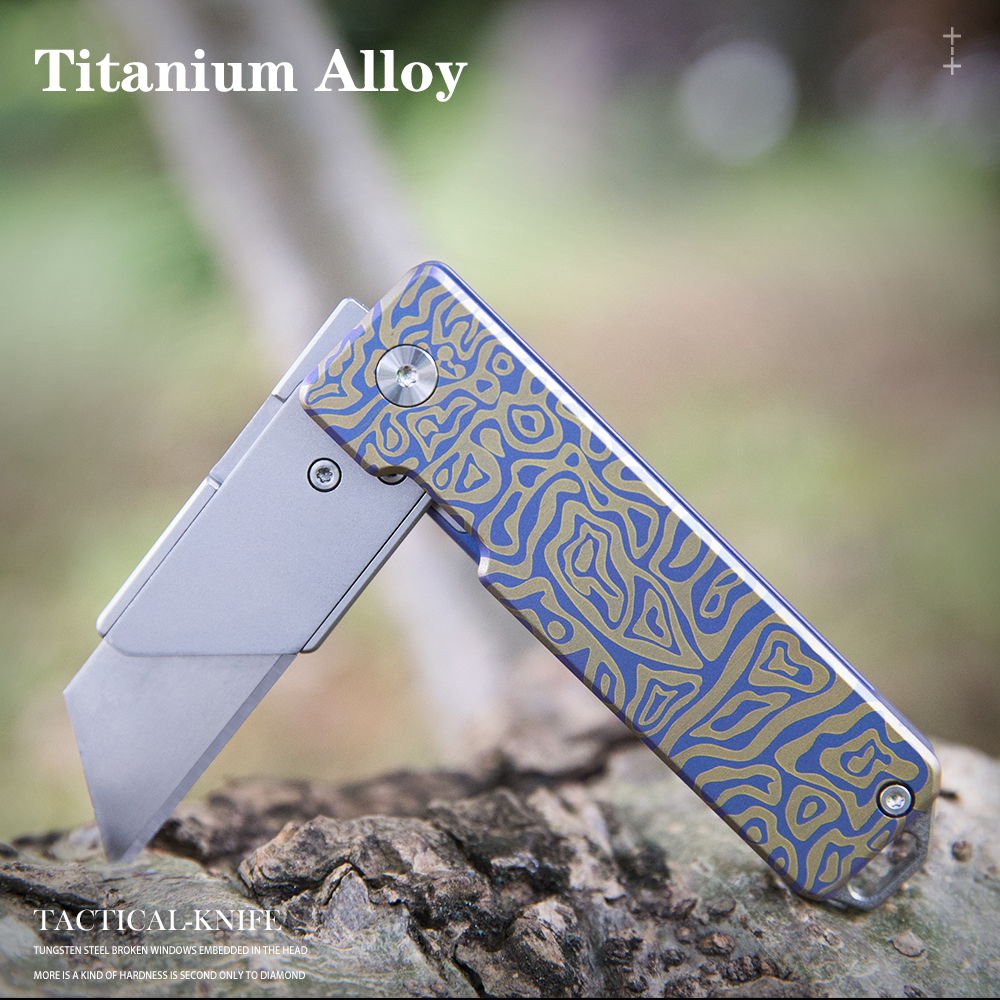 Tools : Titanium alloy folding knife quick change blades pocket knife Cutting tools Outdoor gadget in need of a reliable EDC