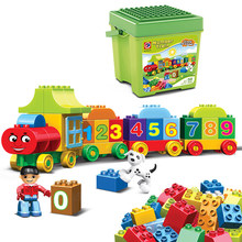 Duplo blocos de construção tamanho grande número cidade trem grandes partículas tijolos diy brinquedos educativos do bebê para crianças presentes