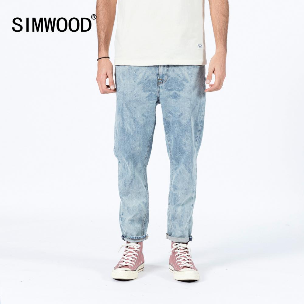 SIMWOOD 2020 Summer New Laser Wash Jeans Men Fashion Comfortable Tapered Ankle-length Denim Plus Size Trousers SJ120257