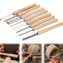 8 Pçs/set Carpintaria Carving Facas Cinzel Conjunto de Ferramentas de Tornear Madeira Artesanato Despedida Detalhe Skew Cinzel Gouge Punho Facas Escultura