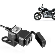 Dual Usb-poort 12V Waterdichte Motorcycle Stuur Charger 5V 1A/2.1A Adapter Stopcontact Voor Telefoon digitale Camera MP3/4(China)