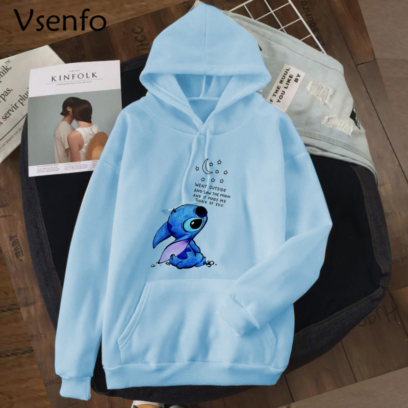 Kawaii Stitch Hoodies Sweatshirt Women Cute Anime Lilo And Stitch Hoodie Ladiy Girl Pullover Harajuku Kpop Moletom Feminino