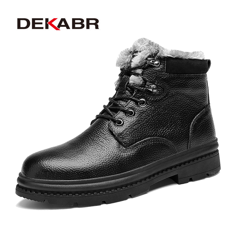 DEKABR High Quality Comfortable Men Boots Genuine Leather Short Plush Ankle Snow Boots Hot Style Supper Warm Shoes Size 38~48