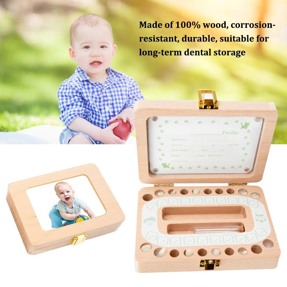 Wooden Photo Frame Baby Teeth Box Boy Baby Baby Baby Teeth Box Children English Baby Hair Storage Box Long-Term Dental Storage