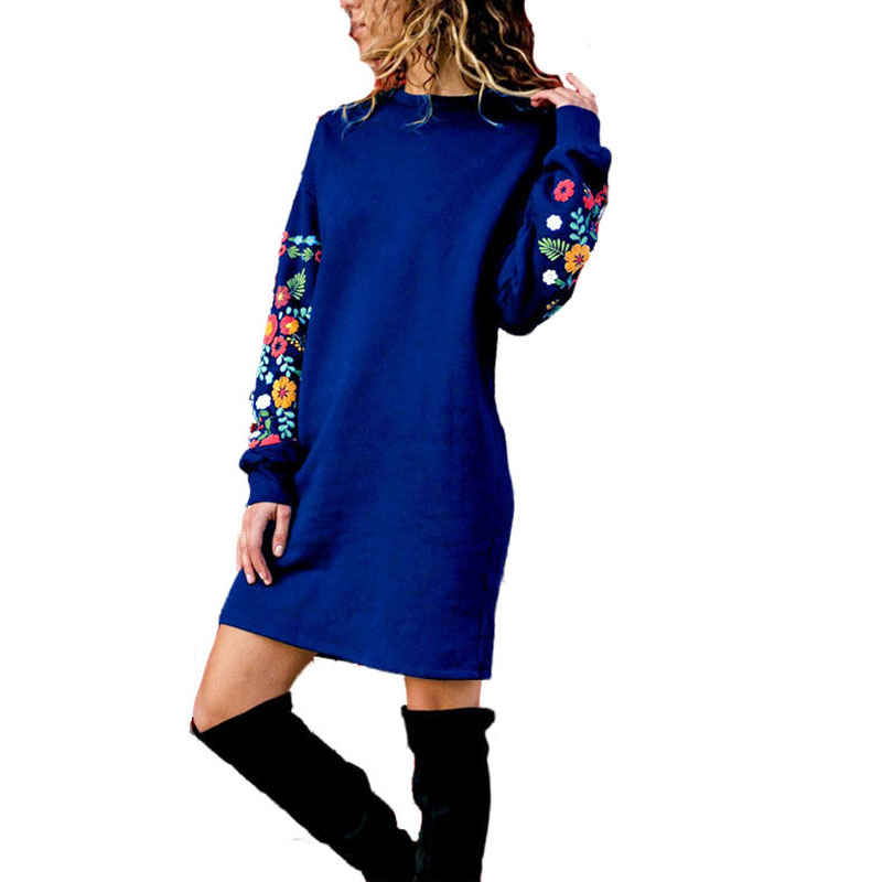 BKMGC  Women Winter Elegant Dress Winter Cotton Warm   Fashion  Casual Printing Sweatshirt Long Sleeve Dress Plus Size S-3xl