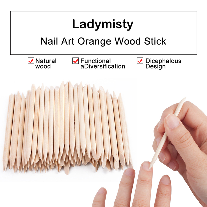 Hot 100 Pc/lot Orange Wood Double-end Stick Nail Art Wood Stick Cuticle Pusher Remover Pedicure Manicure Tool Dropshipping TSLM1