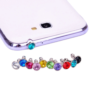 10pcs Bling Diamond Dust Plug Universal 3.5mm CellPhone Earphone Plug For iPhone 6 5s/Samsung/HTC Headphone Jack Stopper