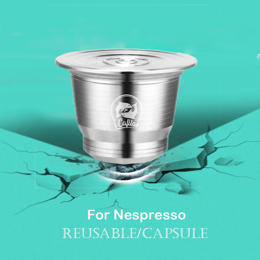 Stainless Steel For Nespresso Coffee Filter Reusable Capsule Stainless Coffee Tamper Metal Coffee Spoon With Clip
