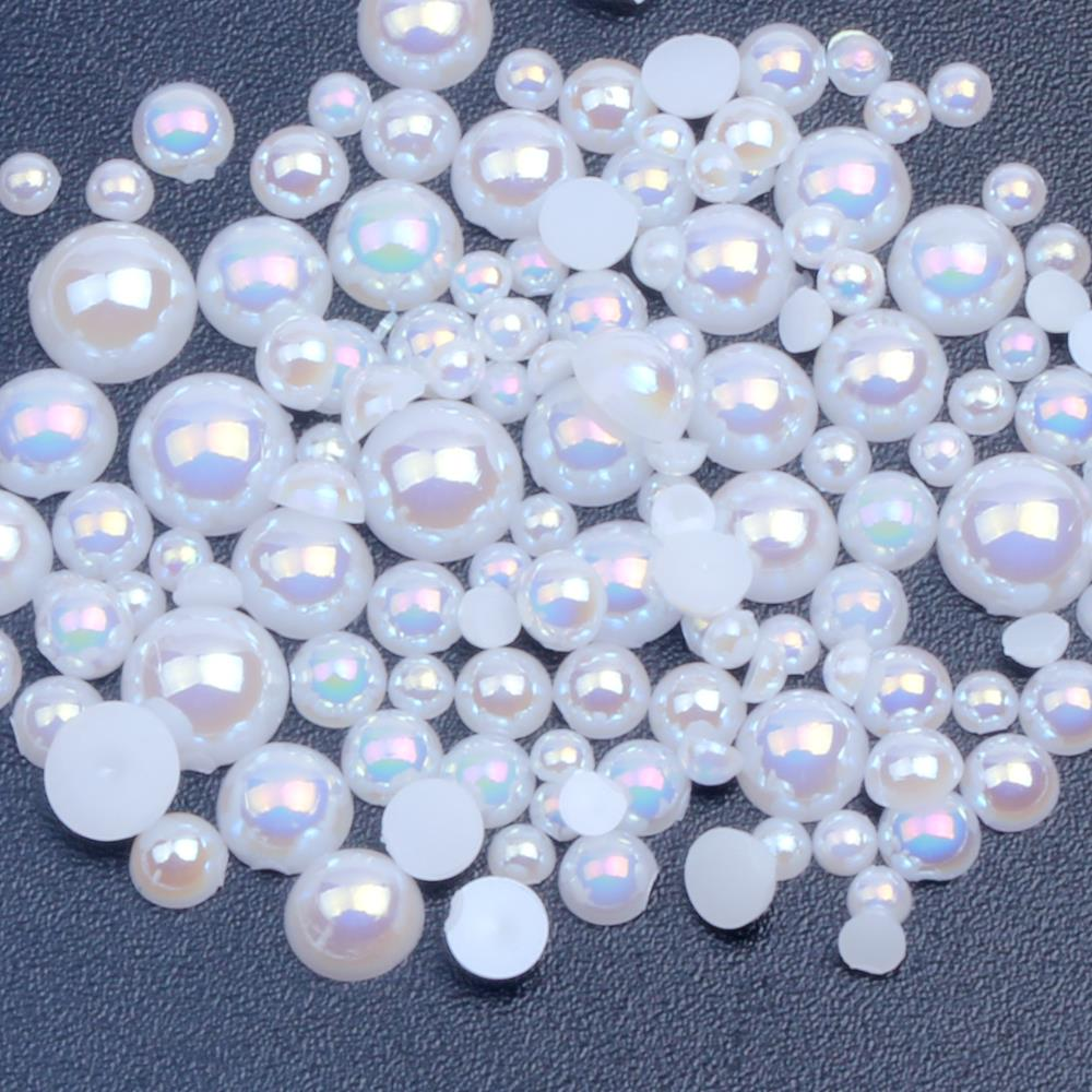 1000/500pcs 2-5mm And Mixed Size White AB Glue On ABS Imitation Half Round Pearls Resin Flatback Beads For Craft Jewelry Making