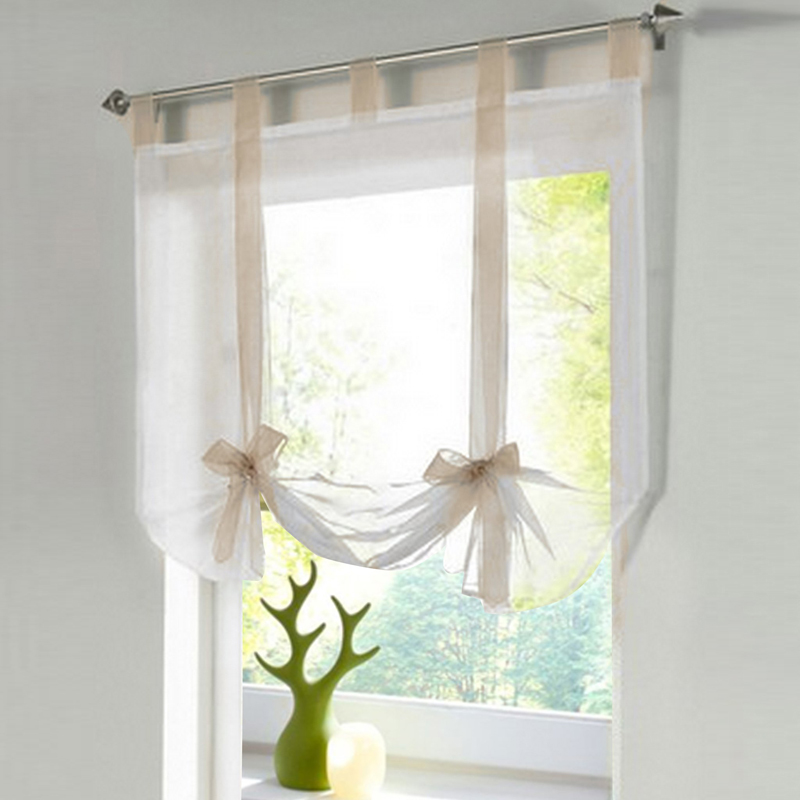 1x Long Sheer Floaty White Net Lill Curtains Ribbon Tie Tulle Voile Window Valance  For Window Wall Decoration