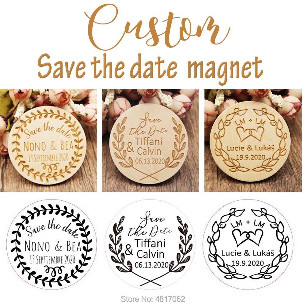 Personalized Wedding Save The Date Magnets. 100 Style Desgin Wooden Magnets. Rustic Wedding Decor