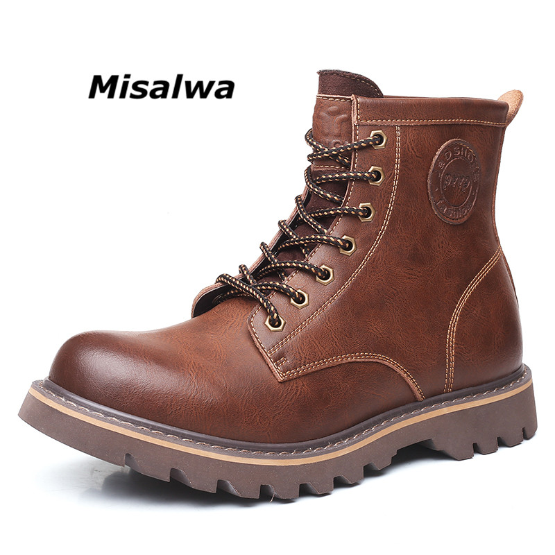 Misalwa Winter Leather Men's Boots  Safety Work Boots Lace-up British Ankle Botas Height Increasing Vintage Casual Work Boots