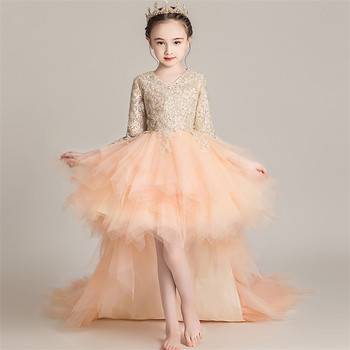 Little Kids Children V-Collar Long Sleeves Evening Birthday Party Princess Long Tail Dress Girls Holiday Party Ceremony Dress