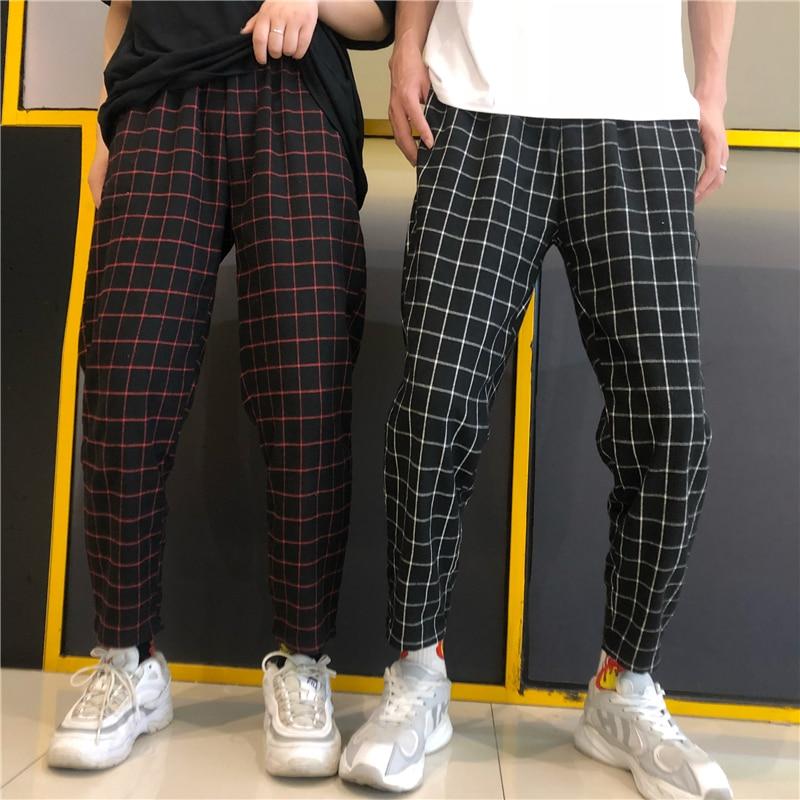 HOUZHOU Plaid Vintage Harajuku Pants Women Ankle Length Straight Checkered Trousers Loose High Waist Pants Joggers Streetwear
