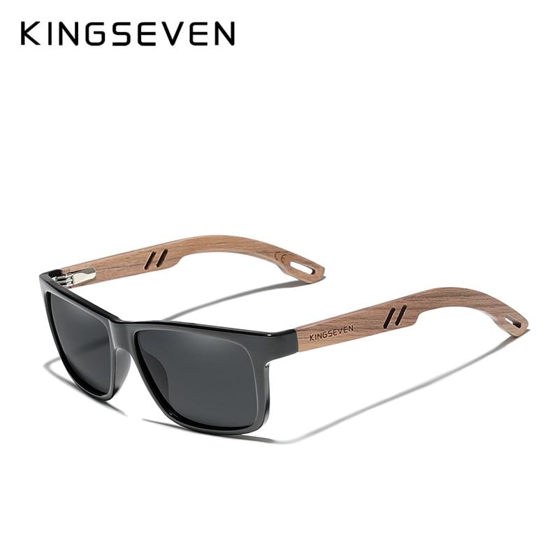 KINGSEVEN Brand Design TR90+Walnut Wood Handmade Sunglasses Men Polarized Eyewear Accessories Sun Glasses Reinforced Hinge 2