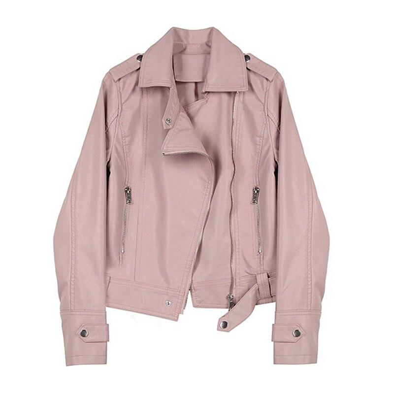 2019 autumn and winter new Korean short locomotive pu   leather   jacket women Slim autumn short jacket women tide   leather   coat B572