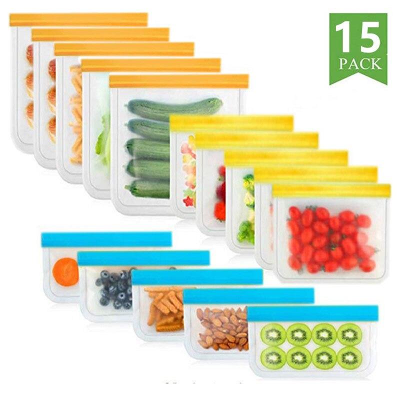 15 шт./компл. из силиконового пакета для еды, матовый многоразовый пакет из пенополиуретана для хранения еды, герметичный пакет для еды с моро...