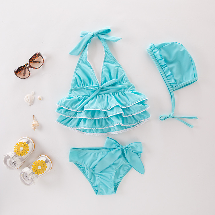 KID'S Swimwear Girls' Two-piece Swimsuit Blue Hooded Halter Bikini Beachwear Spa Resort Tour Bathing Suit