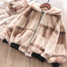 Осенне-зимние флисовые куртки с капюшоном и буквенным принтом для мальчиков и девочек