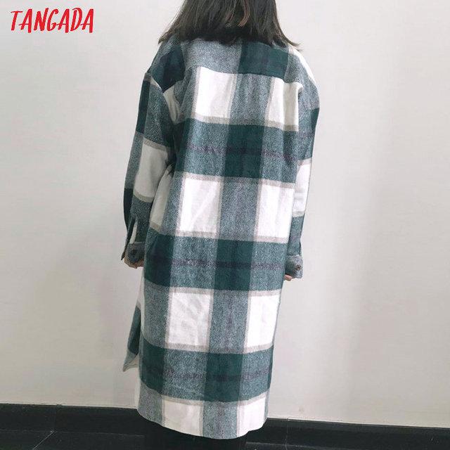 Tangada-veste Long à carreaux vert pour femmes, manteau chaud à la mode, pardessus chaud AI35, 2020, automne hiver, décontracté 5