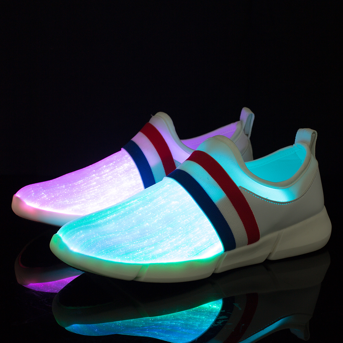 Size 26-45 New Summer Led Fiber Optic Shoes For Girls Boys Men Women USB Recharge Glowing Sneakers Man Light Up Shoes