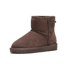 Big Size 45 Snow Boots Men Shoes Suede Warm Winter Boots Mens Genuine Leather Ankle Boots Slip-on Artificial Wool Men's Boots