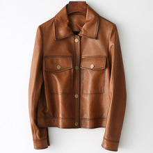 Vintage Spring Autumn Real Sheepskin Jacket Locomotive Slim High Quality Genuine Leather Coat Women Casual Outwear with Pockets