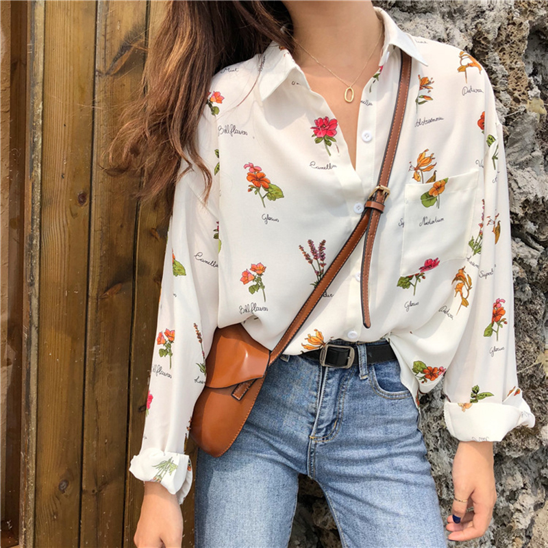 Floral Printed Shirts For Women 2020 Autumn Spring Chiffon Blouse Long Sleeve Turn Down Collar Loose Causual Top Chemisier Femme