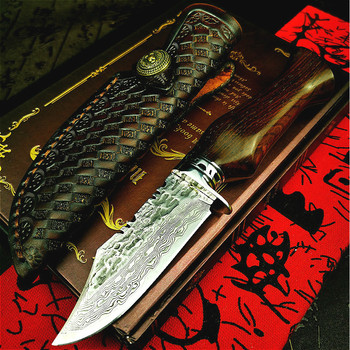 PEGASI Japan imported raw steel 67 layer overlay beat Damascus G10 high hardness straight knife hunting knife tactical knife damascus steel outdoor tactical straight knife boutique collection knife high hardness self defense straight knife