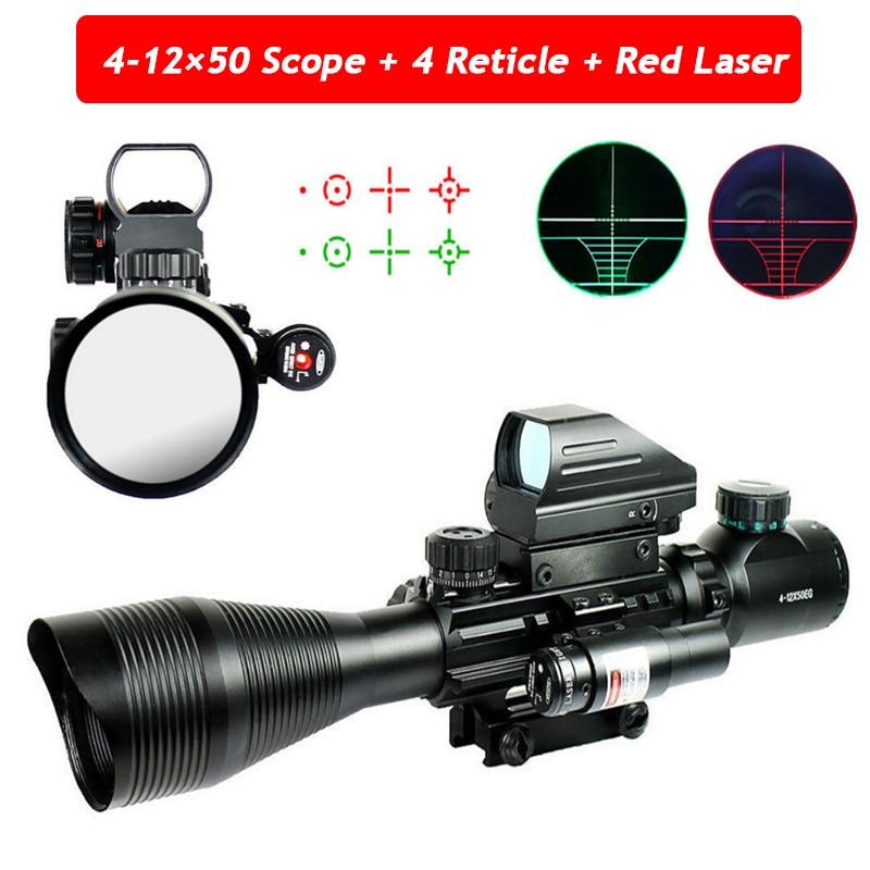 4-12X50EG Tactical Hunting Riflescope Optics Fiber Sight Holographic 4 Reticle & Red Laser 20mm Rail Mount