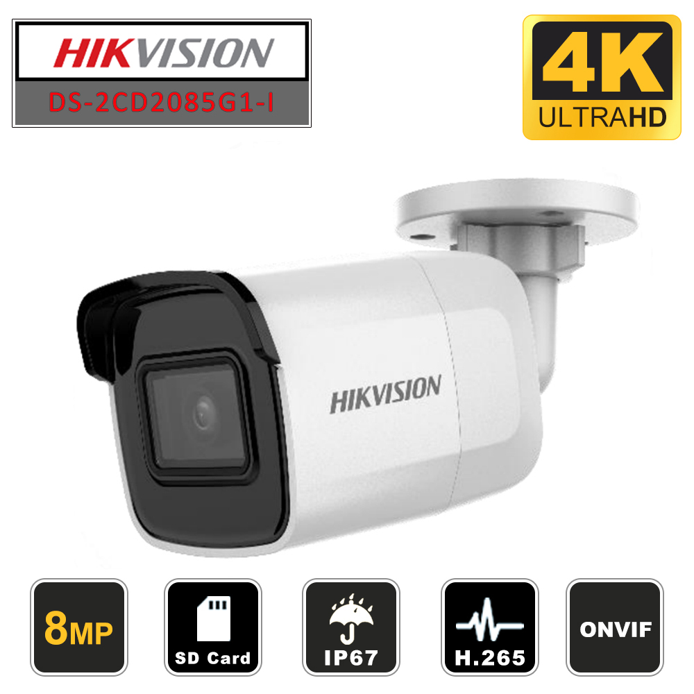 HIKVISION Original International Version 8 MP DS-2CD2085G1-I Network Bullet Camera H265 CCTV Camera POE IP67 With SD Card Slot