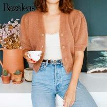 Bazaleas dulces tonos de algodón suéter Vintage pistache, abrigo de mujer cuello en V botones harajuku gato de Carfigans Casual