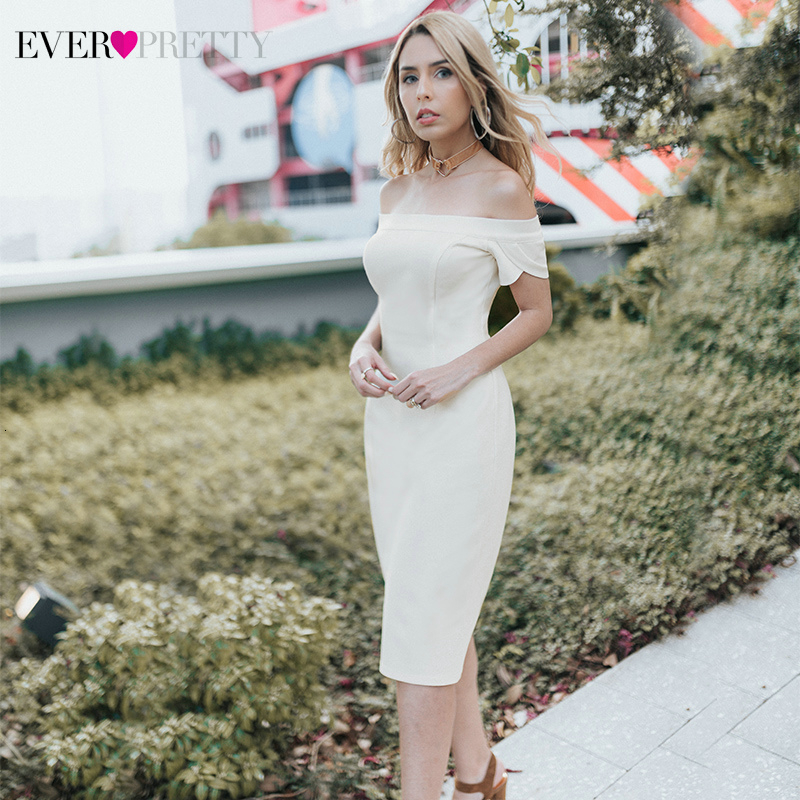 Ever Pretty White Mermiad Cocktail Dresses Off Shoulder Short Sleeve Above Knee Sexy Short Evening Party Gowns Vestido Coctel